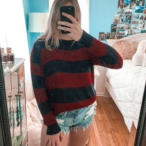 Forever 21 Maroon and Navy Striped Sweater